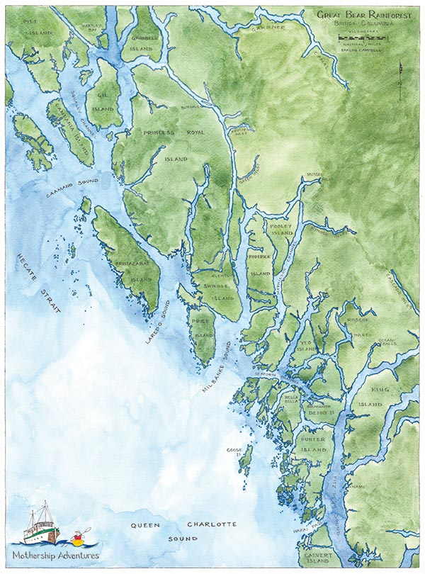 Great Bear Rainforest Map Map of BC Great Bear Rainforest | Mothership Adventures BC
