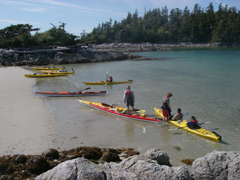 Sea Kayaks  on sandy beach